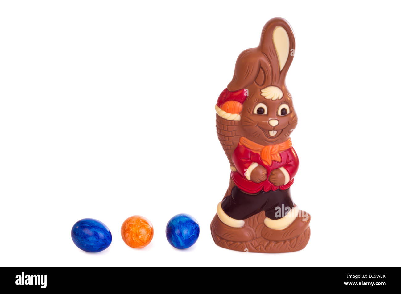 Easter bunny of chocolate isolated on white background Stock Photo
