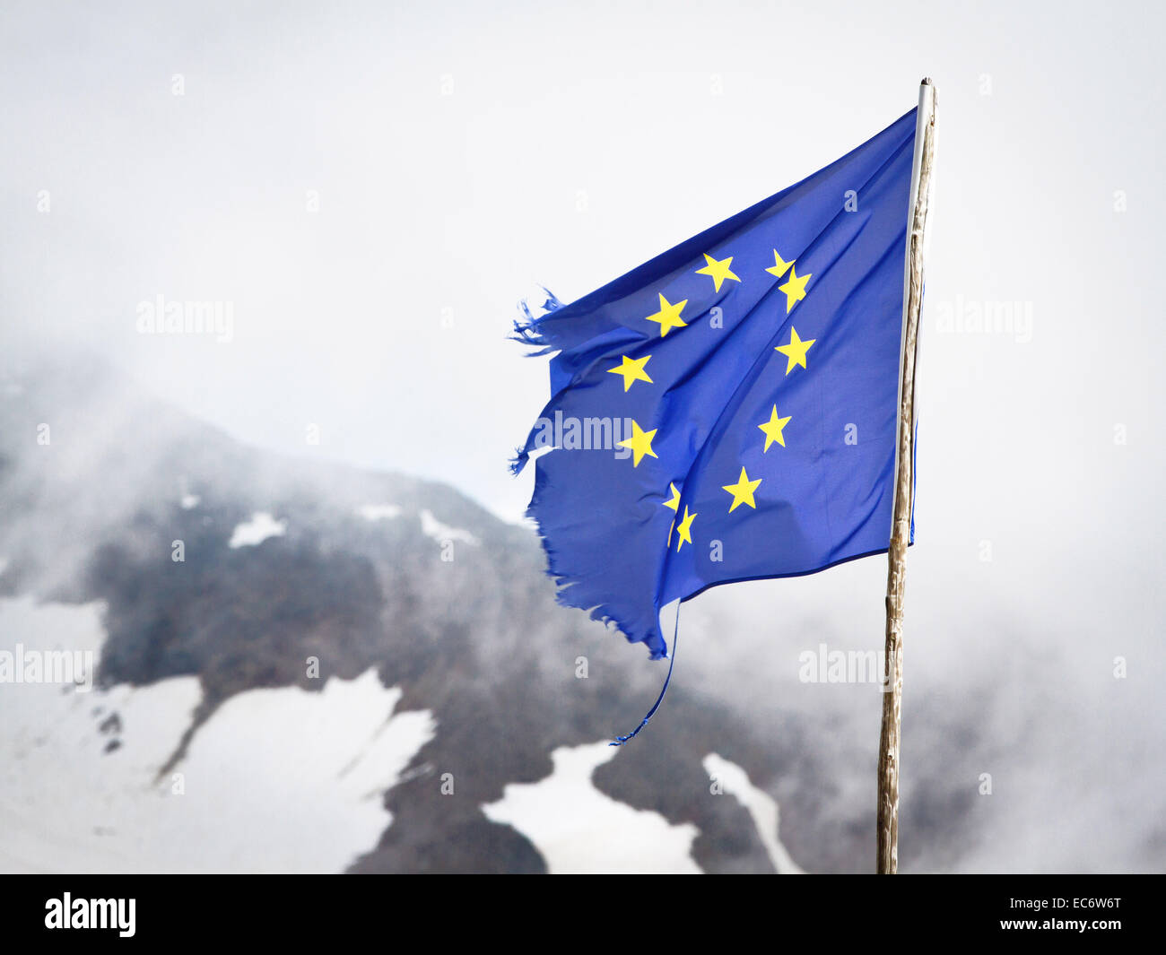 European flag in the Alps, European Union - Stock Image