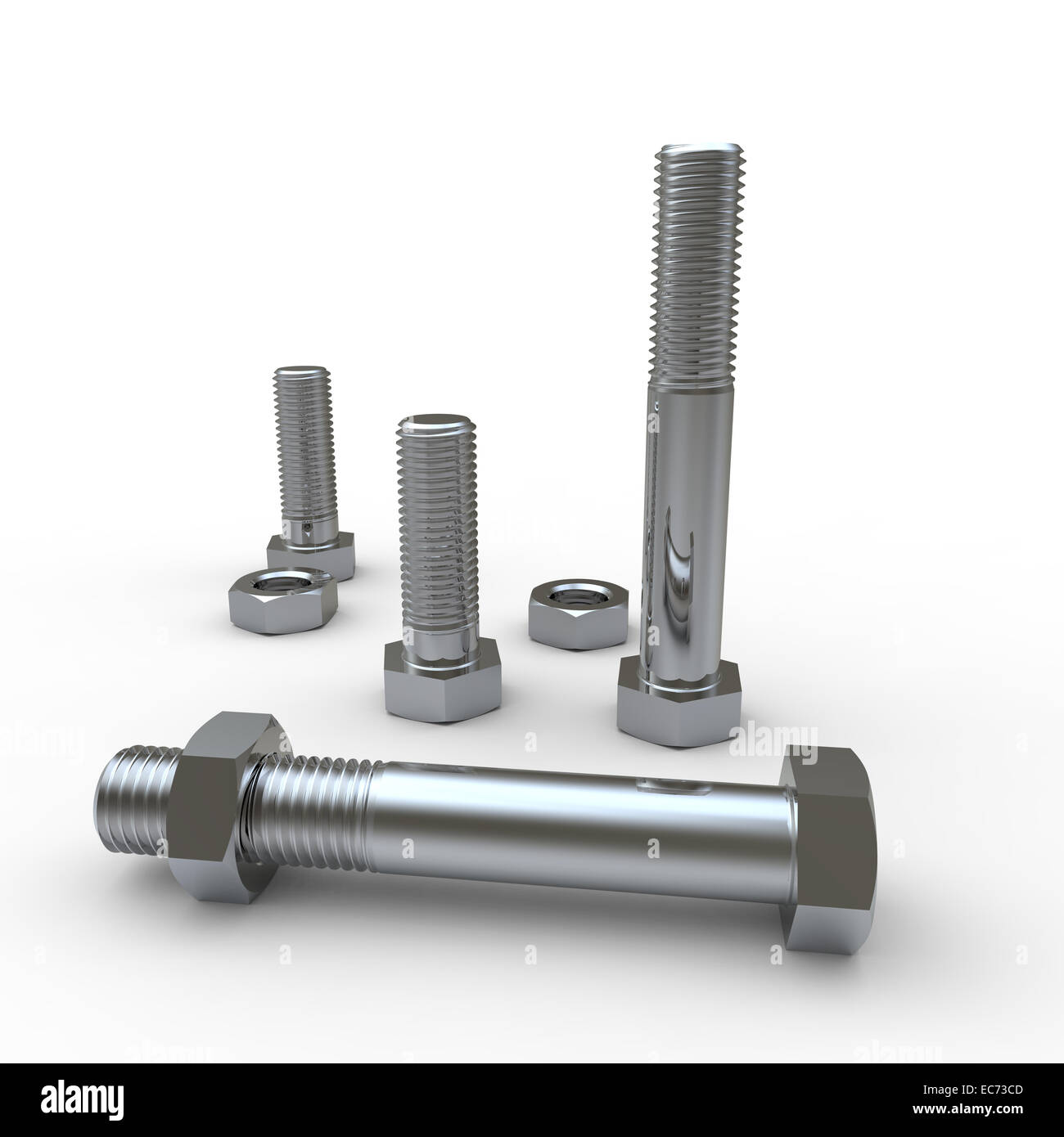 stainless steel hexagon head threaded nuts bolts and screws on a white background - Stock Image