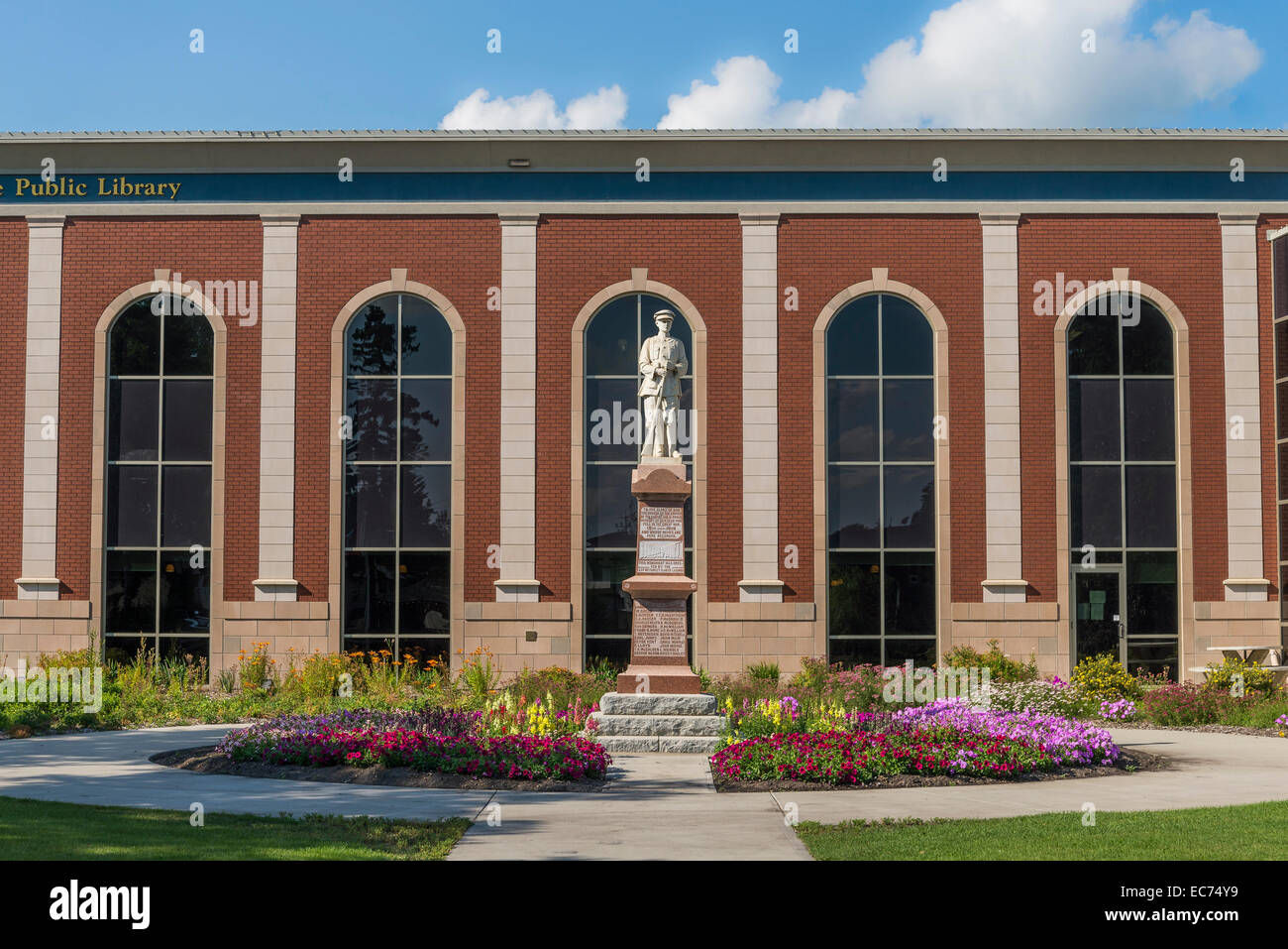 Lacombe Memorial Cenotaph in front of the Public Library, Lacombe, Alberta, Canada - Stock Image
