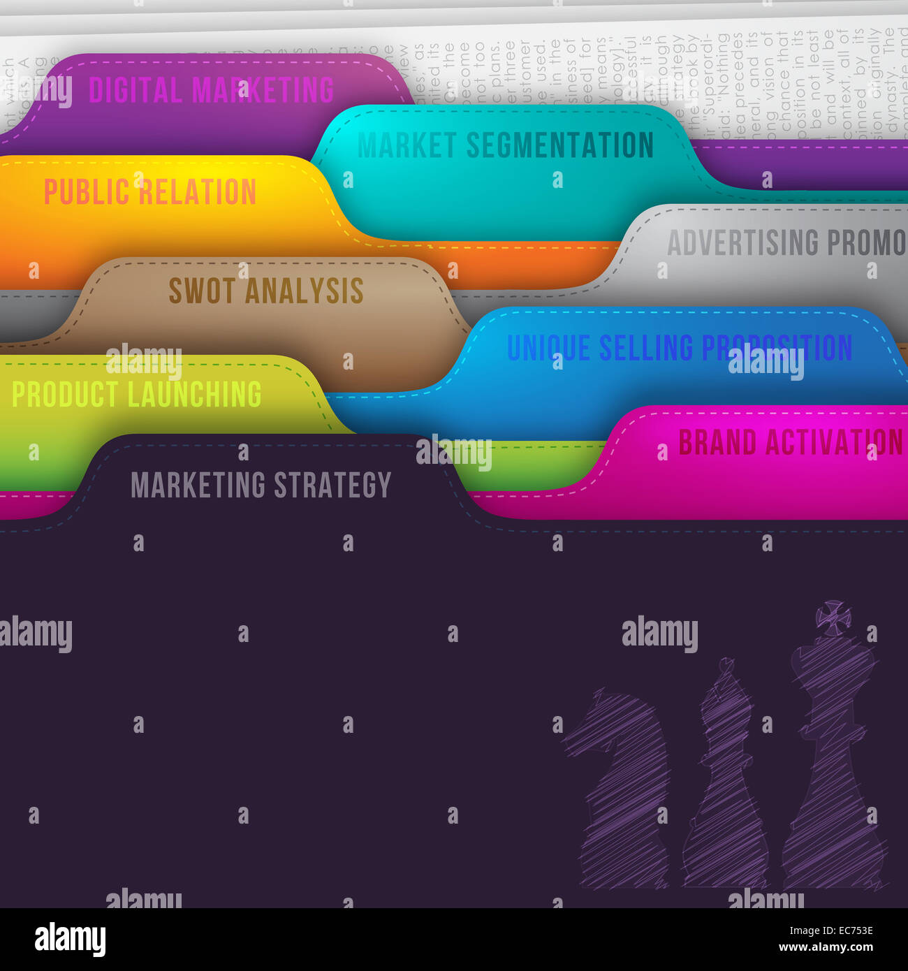 Business concept of marketing strategy represent in colorful folder with chess doodle with 360 degree integrated - Stock Image
