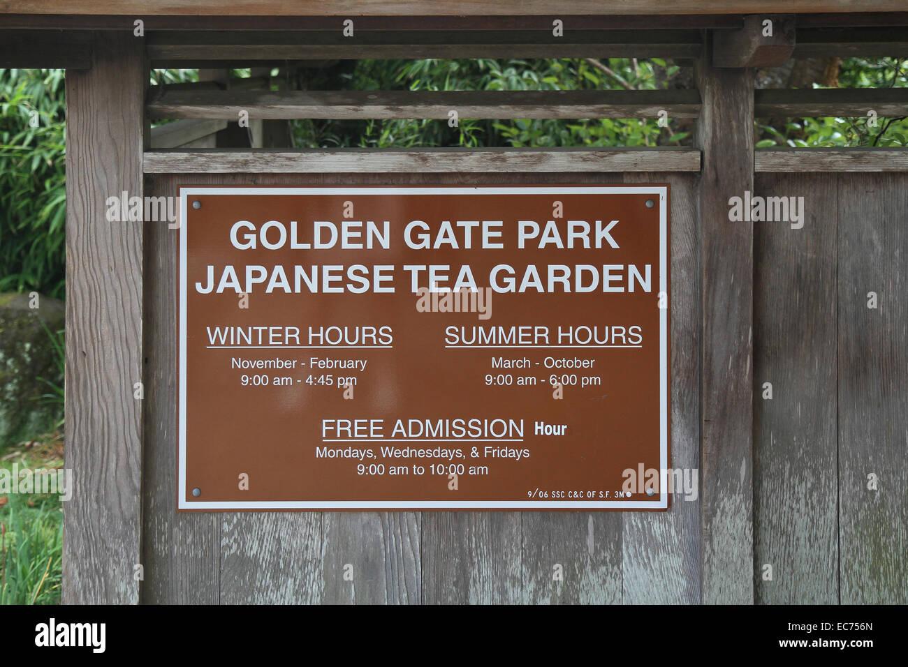 Japanese Tea Garden sign , Golden Gate Park, San Francisco Stock ...