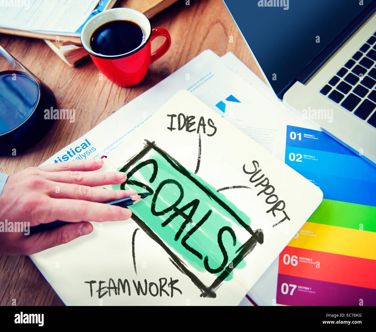 Businessman Notepad Goals Ideas Support Teamwork Concept - Stock Image