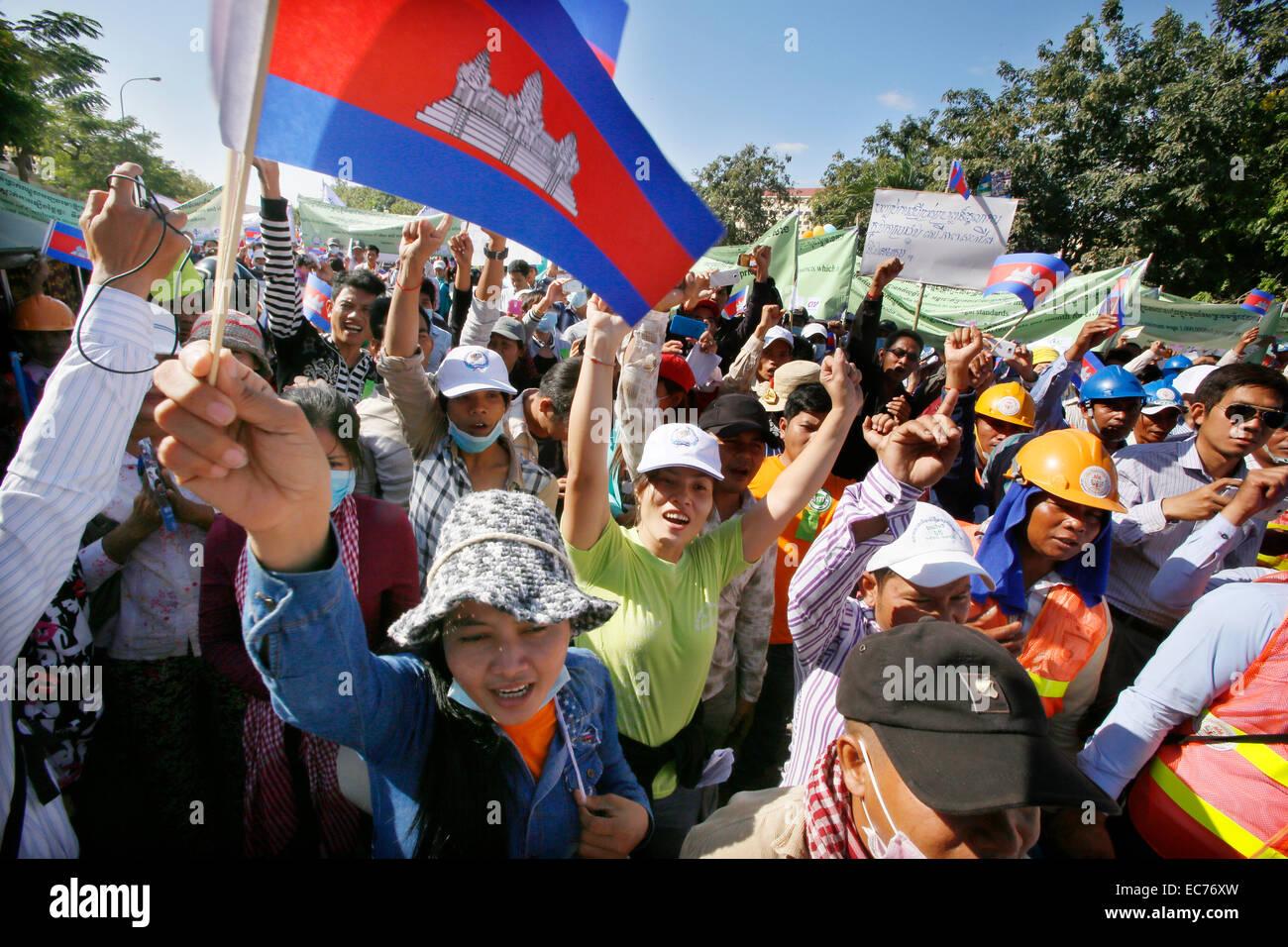 Phnom Penh, Cambodia. 10th Dec, 2014. People celebrate the Human Rights Day in Phnom Penh, Cambodia, Dec. 10, 2014. - Stock Image