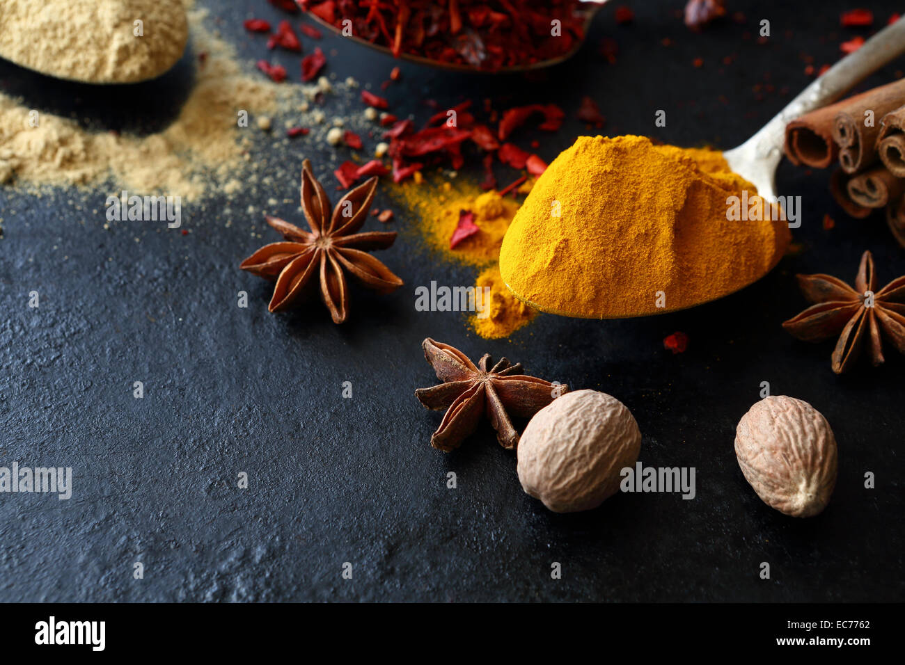 Turmeric and ginger in the spoons, food - Stock Image