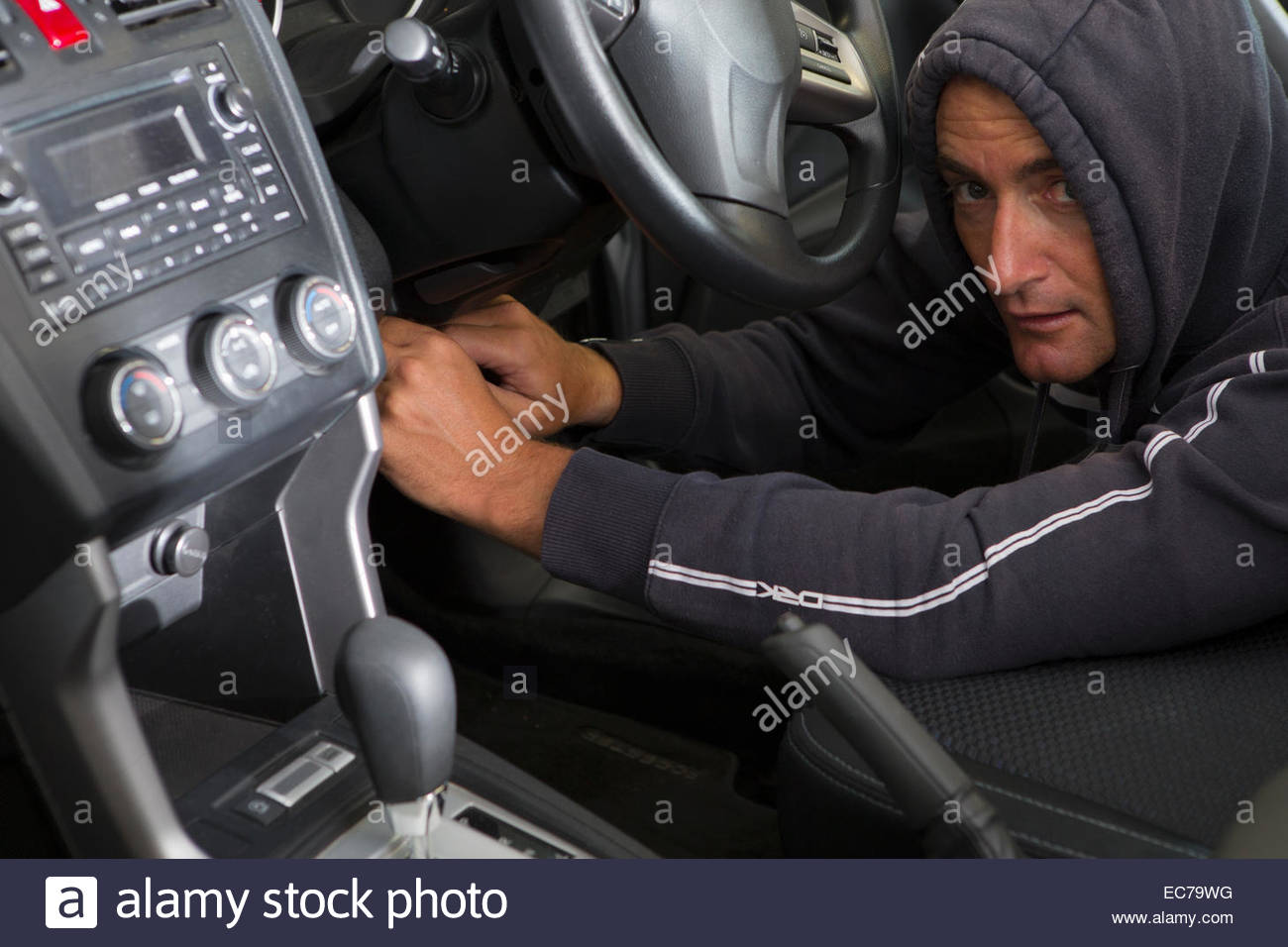 Steal Wire Stock Photos Images Alamy Hot Wiring A Car Thief Hotwiring To Image