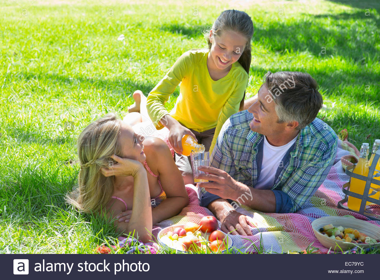 Family having a picnic in countryside - Stock Image