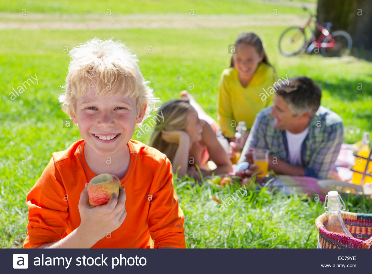 Close-up of boy with apple with family having a picnic in countryside, - Stock Image