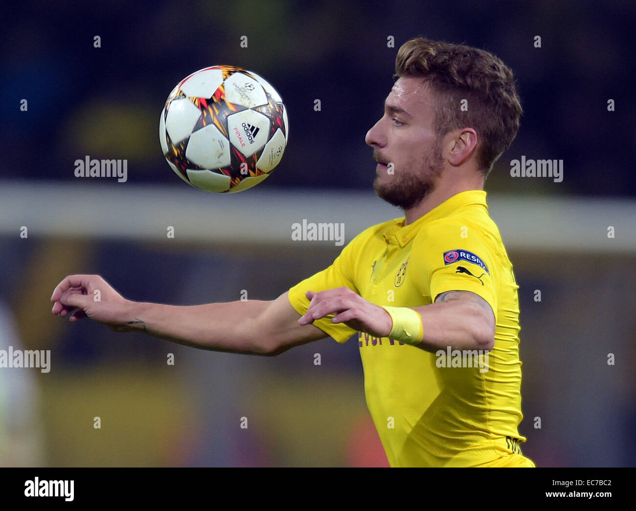 Dortmund's Ciro Immobile in action during the Champions League Group D football match between BorussiaDortmund - Stock Image