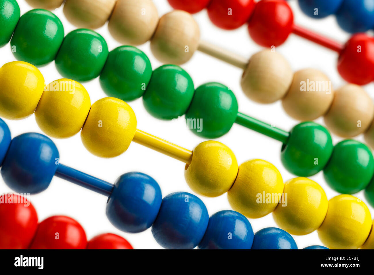 Colored Abacus Beads Sorted Close Up View. - Stock Image