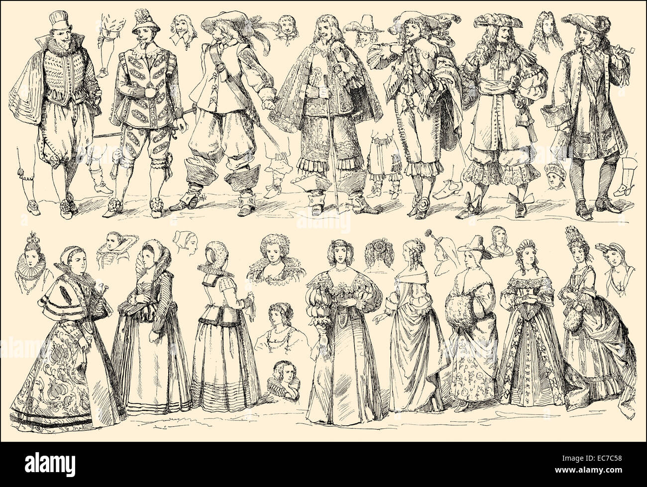 costumes of the 17th century, Germany - Stock Image