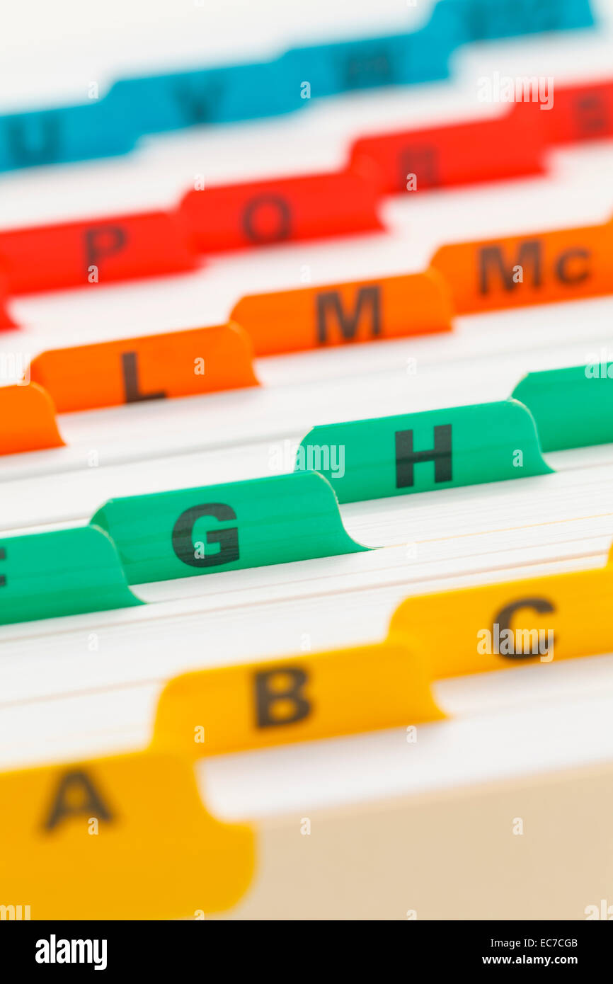 Alphabetical Color Coded Business Card File System Stock Photo ...