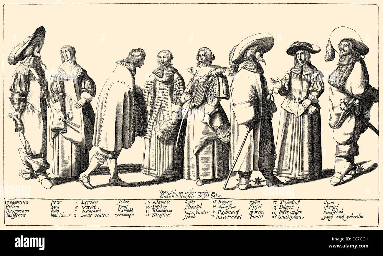 Promotional leaflet for fashion from the 17th century - Stock Image