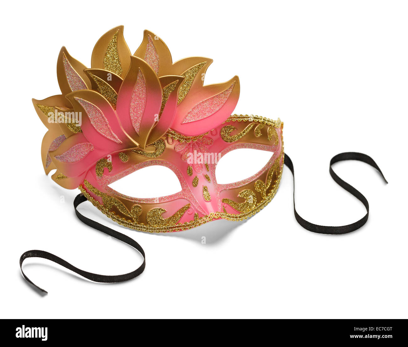 Pink and Gold Feathered Venetian Mask Isolated on White Background. - Stock Image