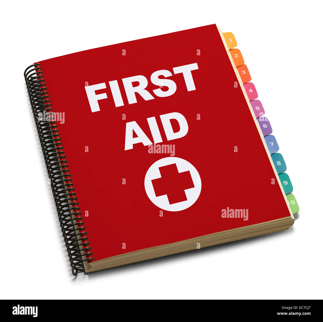 Red Spiral Bound First Aid Handbook Isolated on White Background. - Stock Image