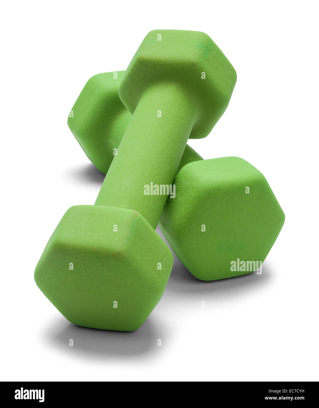 Green Work Out Weights Isolated on White Background. - Stock Image