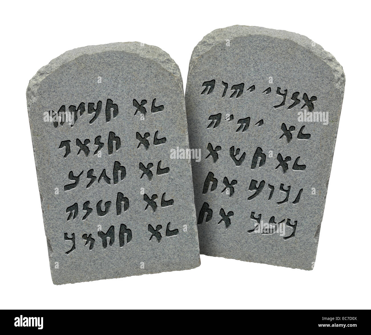 Two Stones with Ten Commandments in Ancient Hebrew Isolated on White Background. - Stock Image