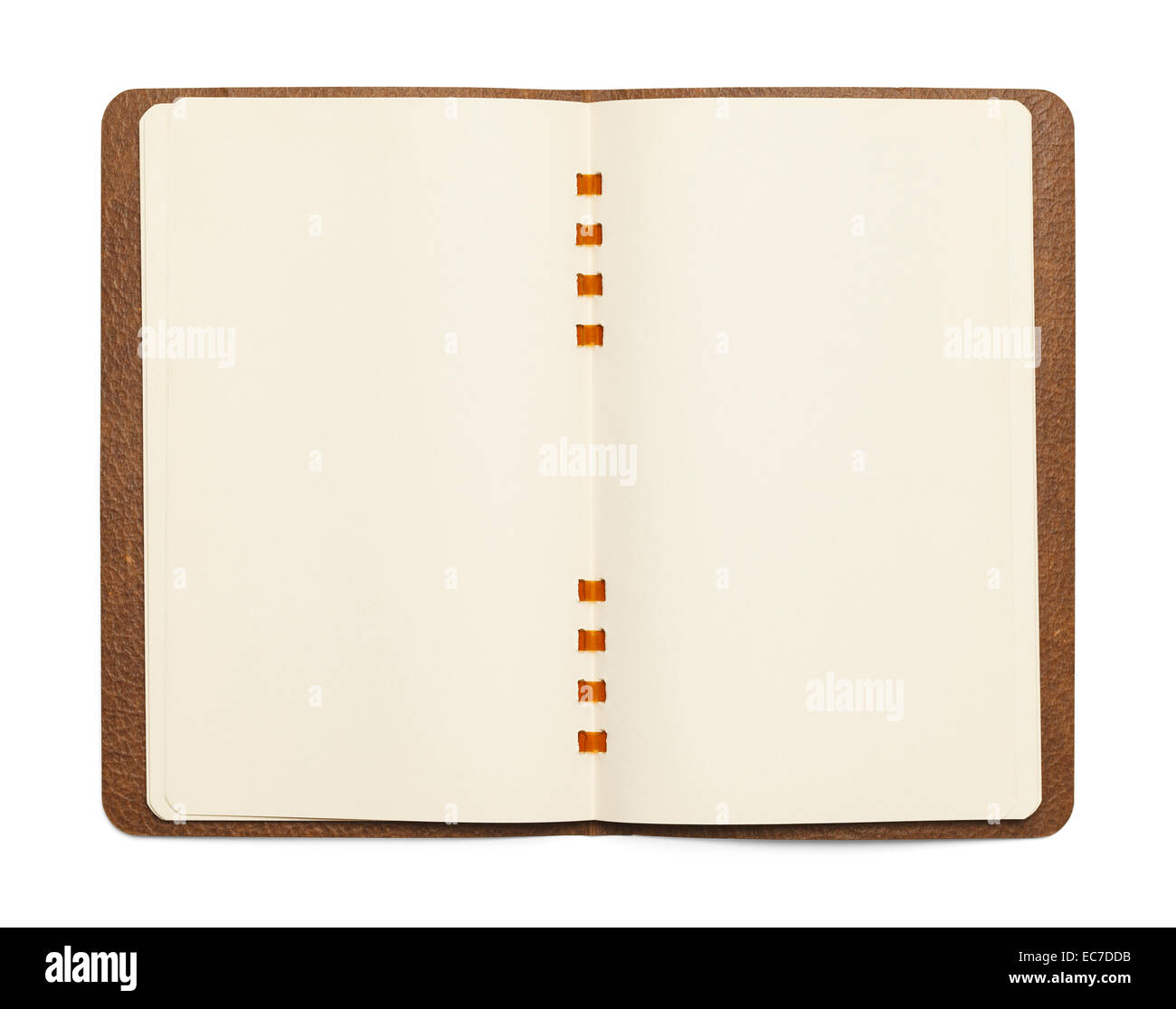 Open Brown Comb Binder Note Book Isolated on White Background. - Stock Image