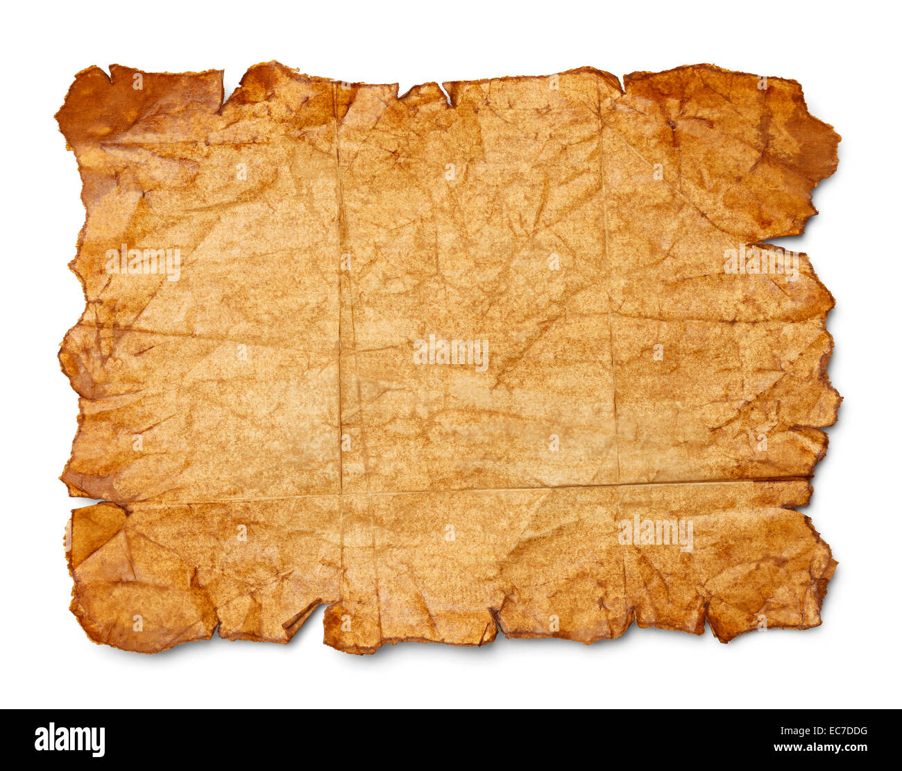 Worn Wrinkled and Ripped Old Brown Paper Isolated on White Background. - Stock Image