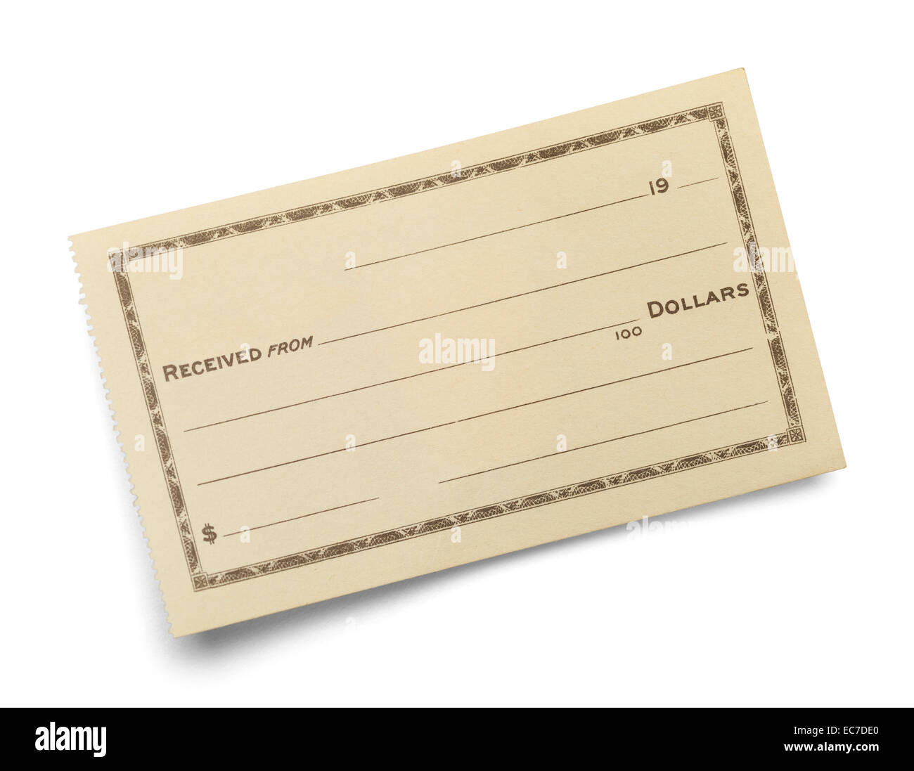 single blank receipt slip isolated on white background stock photo