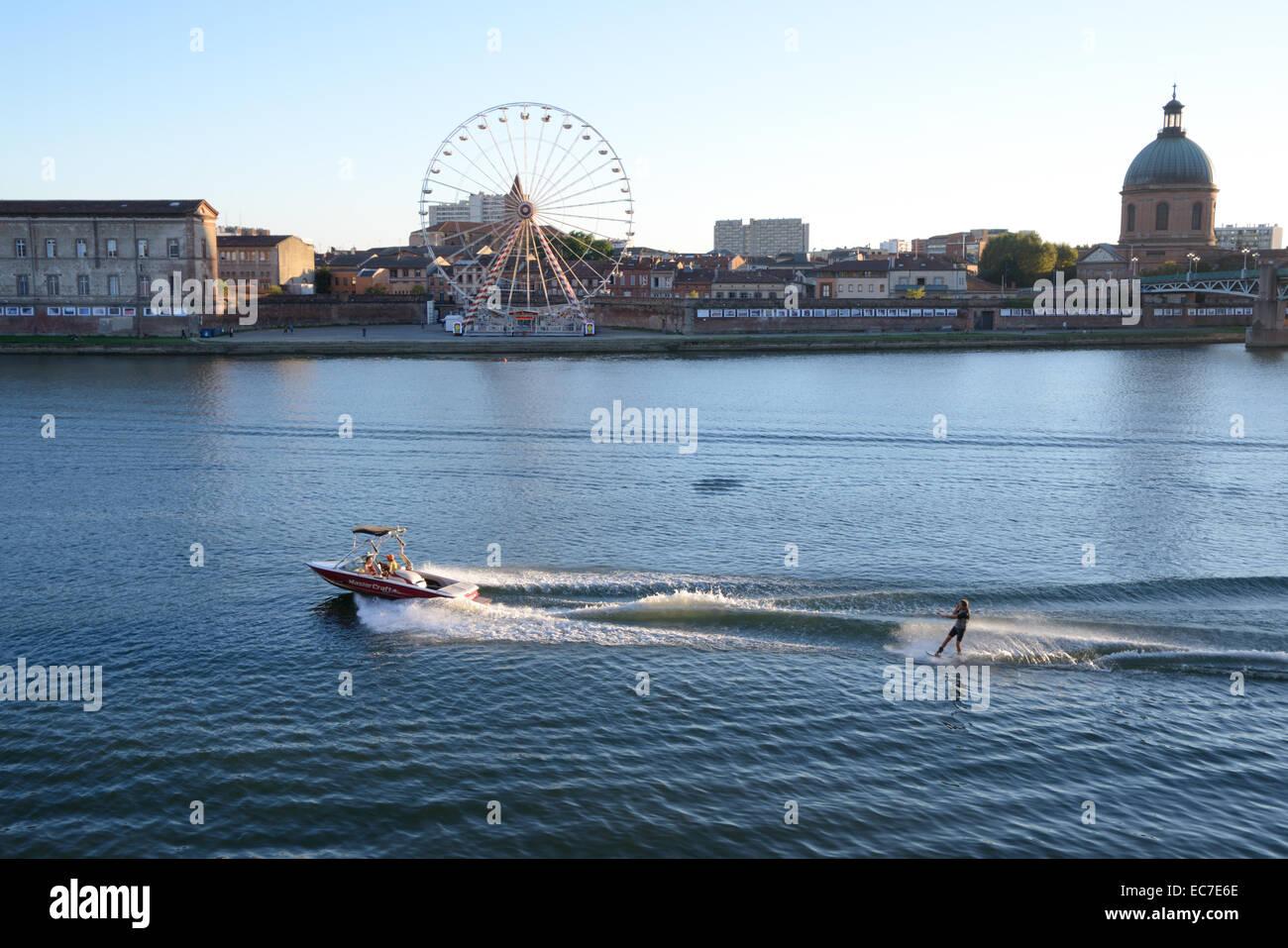 Water Skiing on River Garonne Toulouse Haute-Garonne France - Stock Image