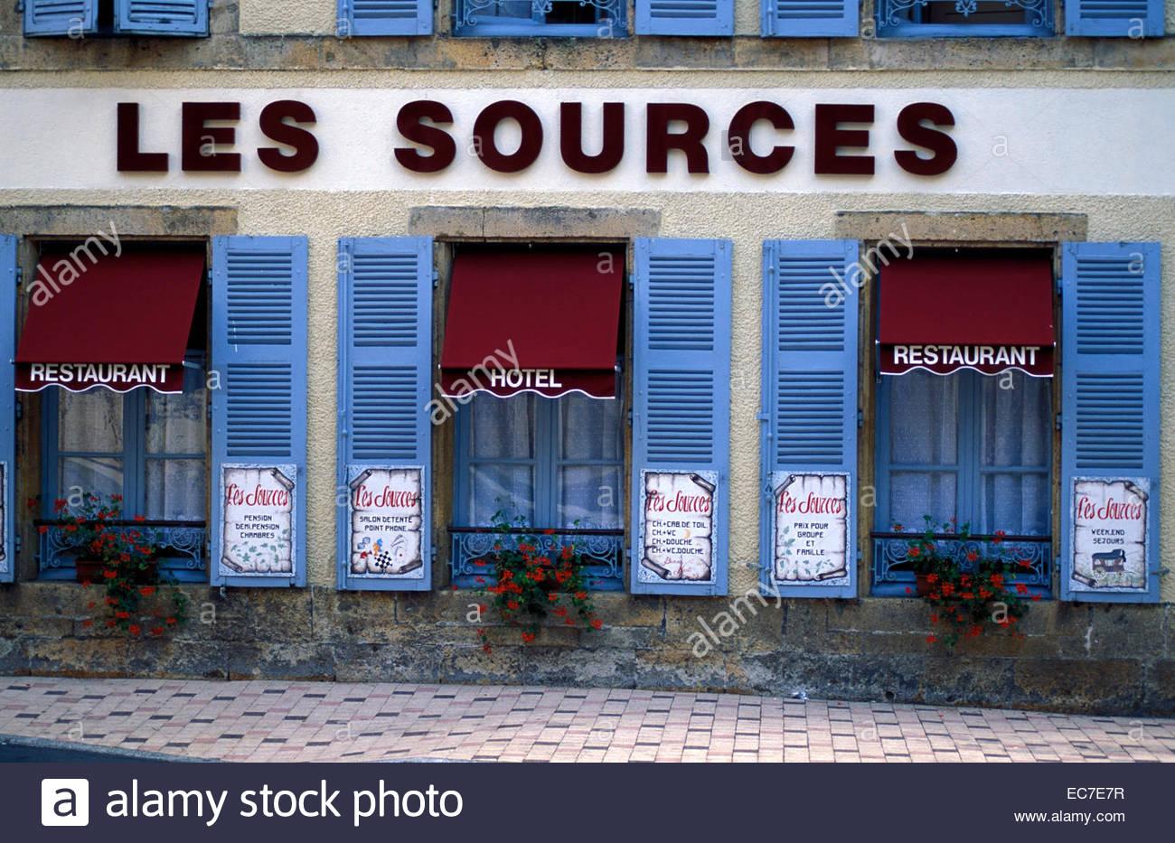 Hotel restaurant Les Sources in La Bourboule, Auvergne. - Stock Image