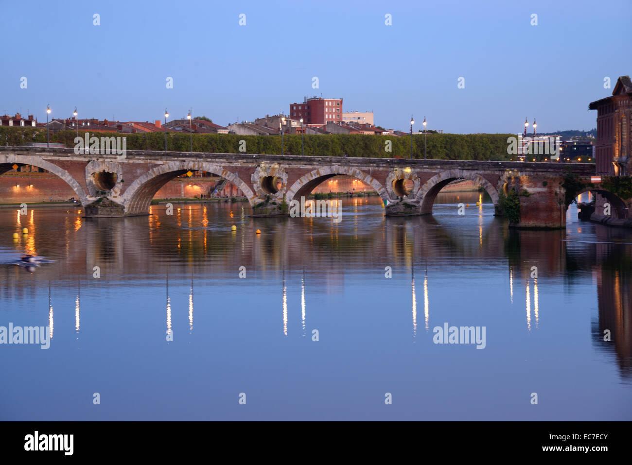 Pont Neuf or New Bridge over River Garonne at Night Toulouse Haute-Garonne France - Stock Image