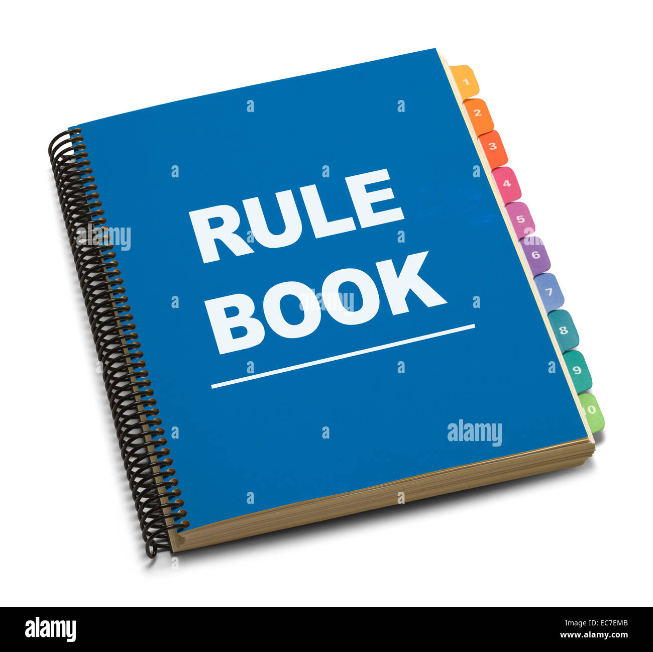 Large Spiral Bound Blue Rule Book with Tabs Isolated on White Background. - Stock Image