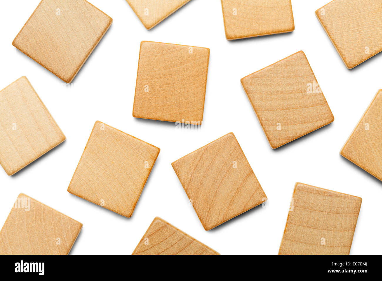 Random Wood Scrabble Pieces With Copy Space Isolated On White Background
