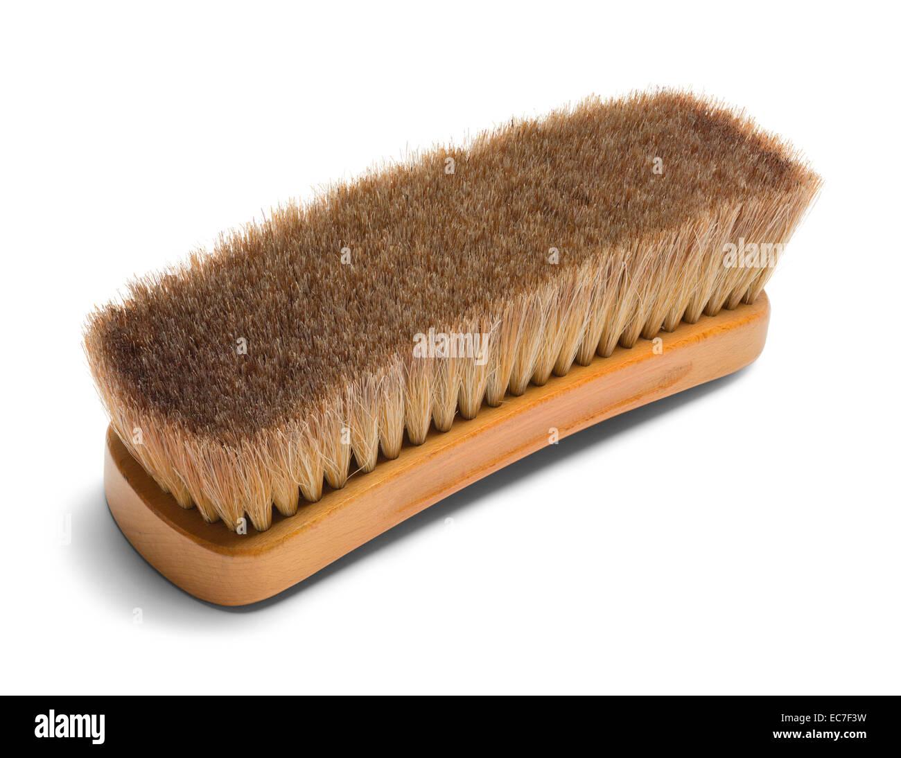 Large Brown Horse Hair Shoe Brush Isolated on White Background. - Stock Image