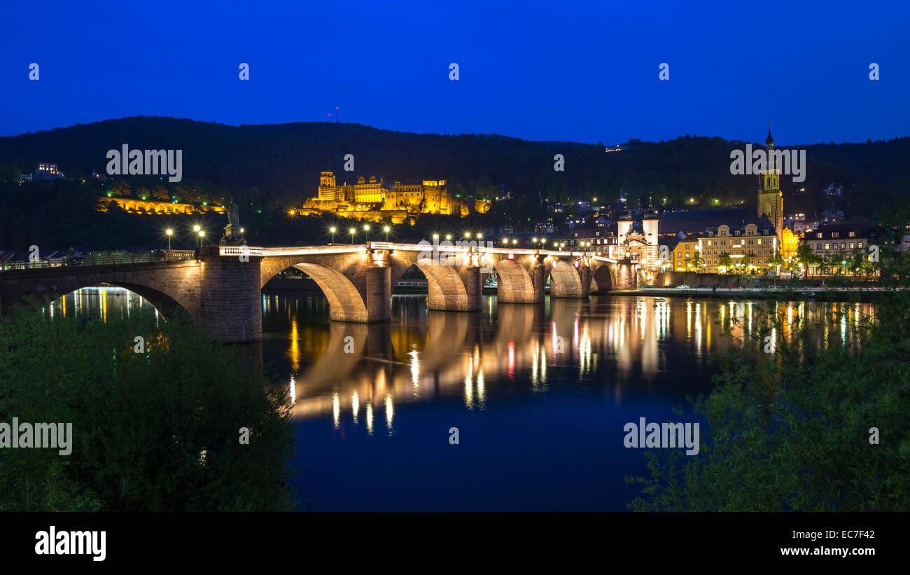 Germany, Baden-Wurttember, Heidelberg at blue hour - Stock Image