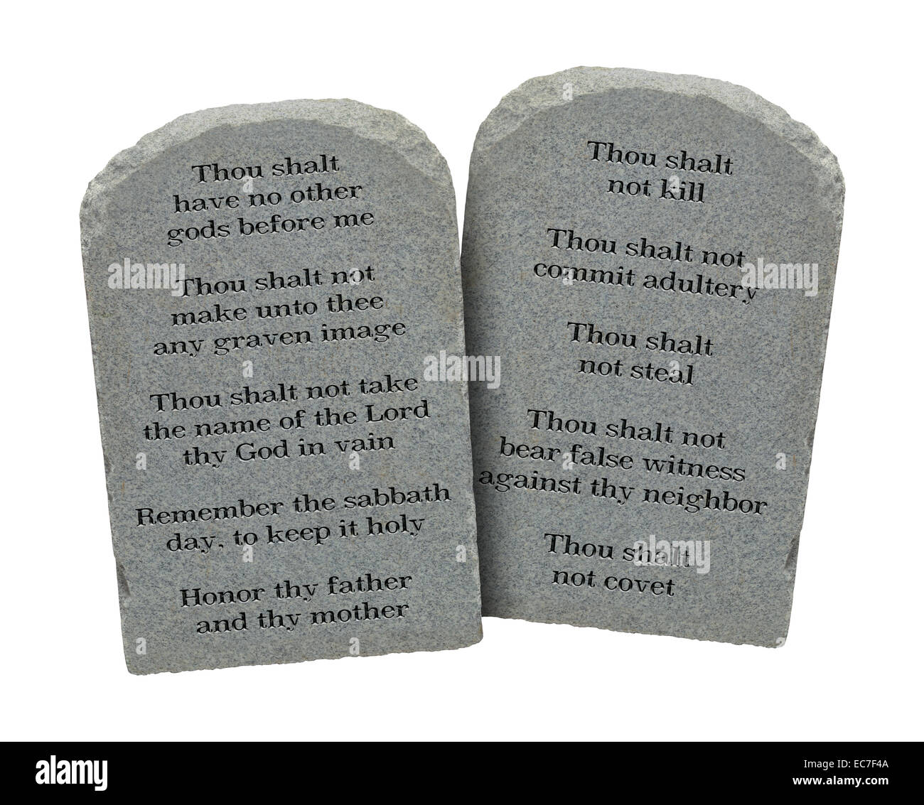 Moses Ten Commandments Stones Isolated on White Background. - Stock Image