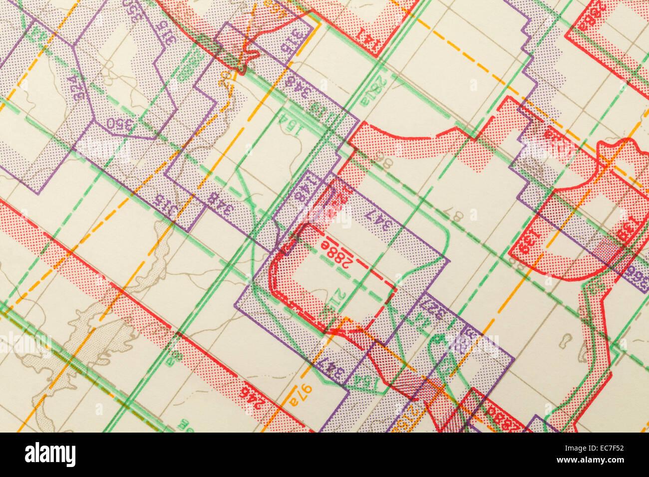 Geometric Multi Colored Zoned Topographical Map Segment. - Stock Image