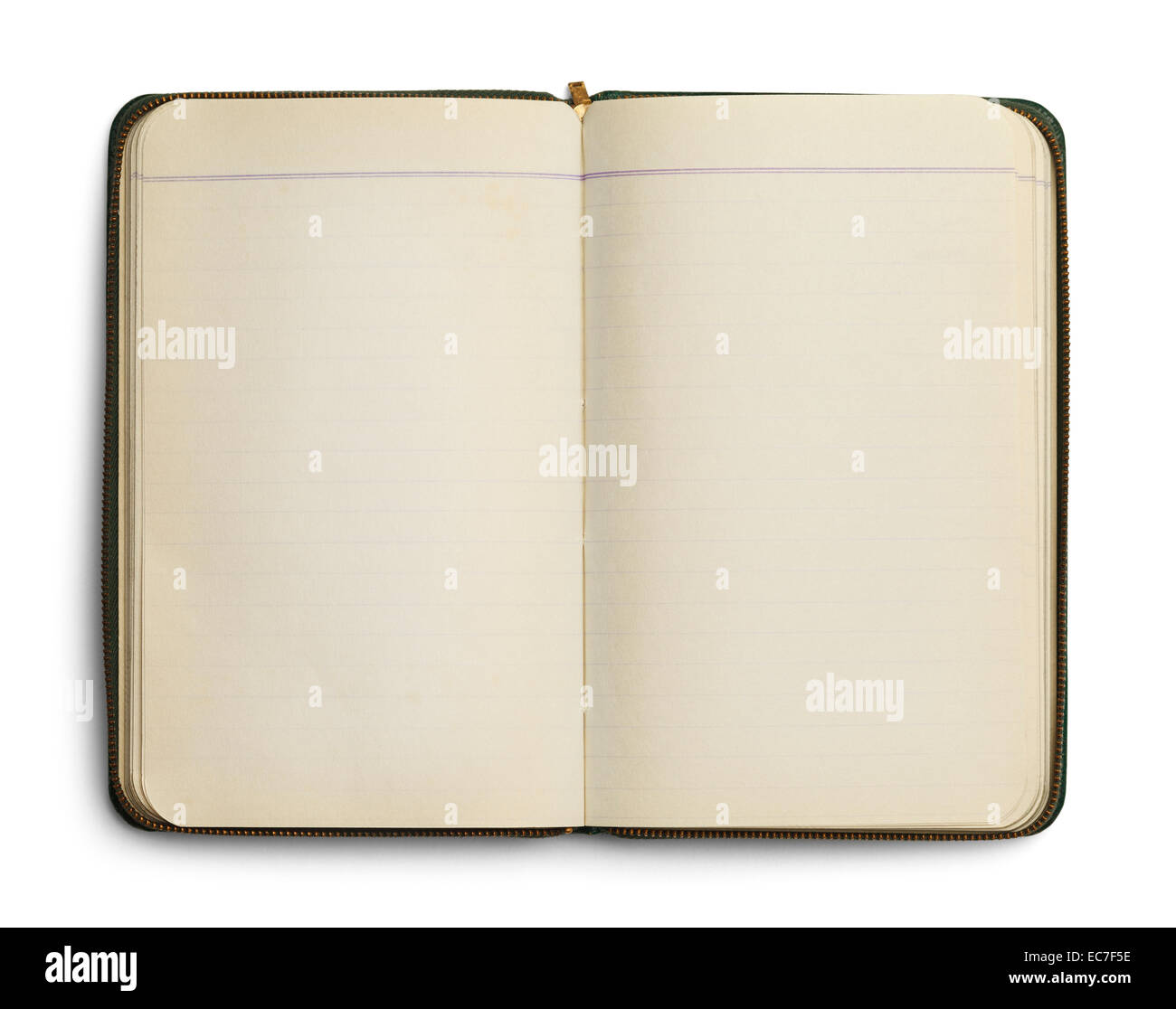 Blank Open Notebook with Zipper Isolated on White Background. - Stock Image