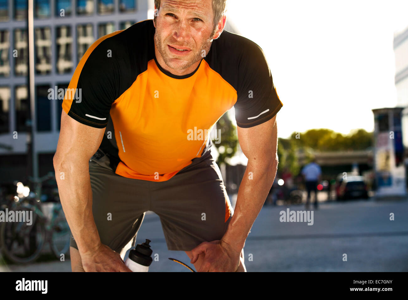 Athletic man outdoors - Stock Image