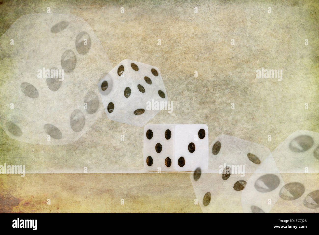roll of the die dice chance of landing on lucky six number on edge of shelf falling off with probability and chance - Stock Image