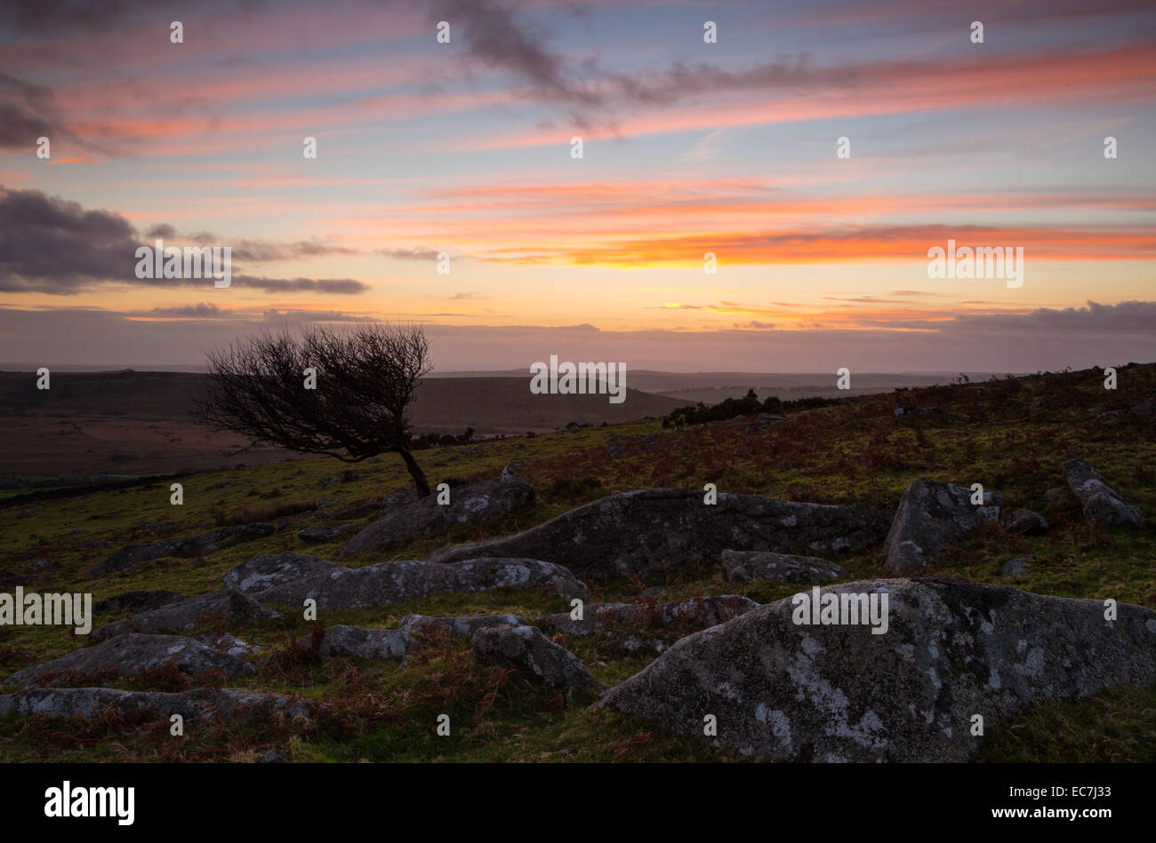 Sunset from Sharptor on Bodmin Moor - Stock Image