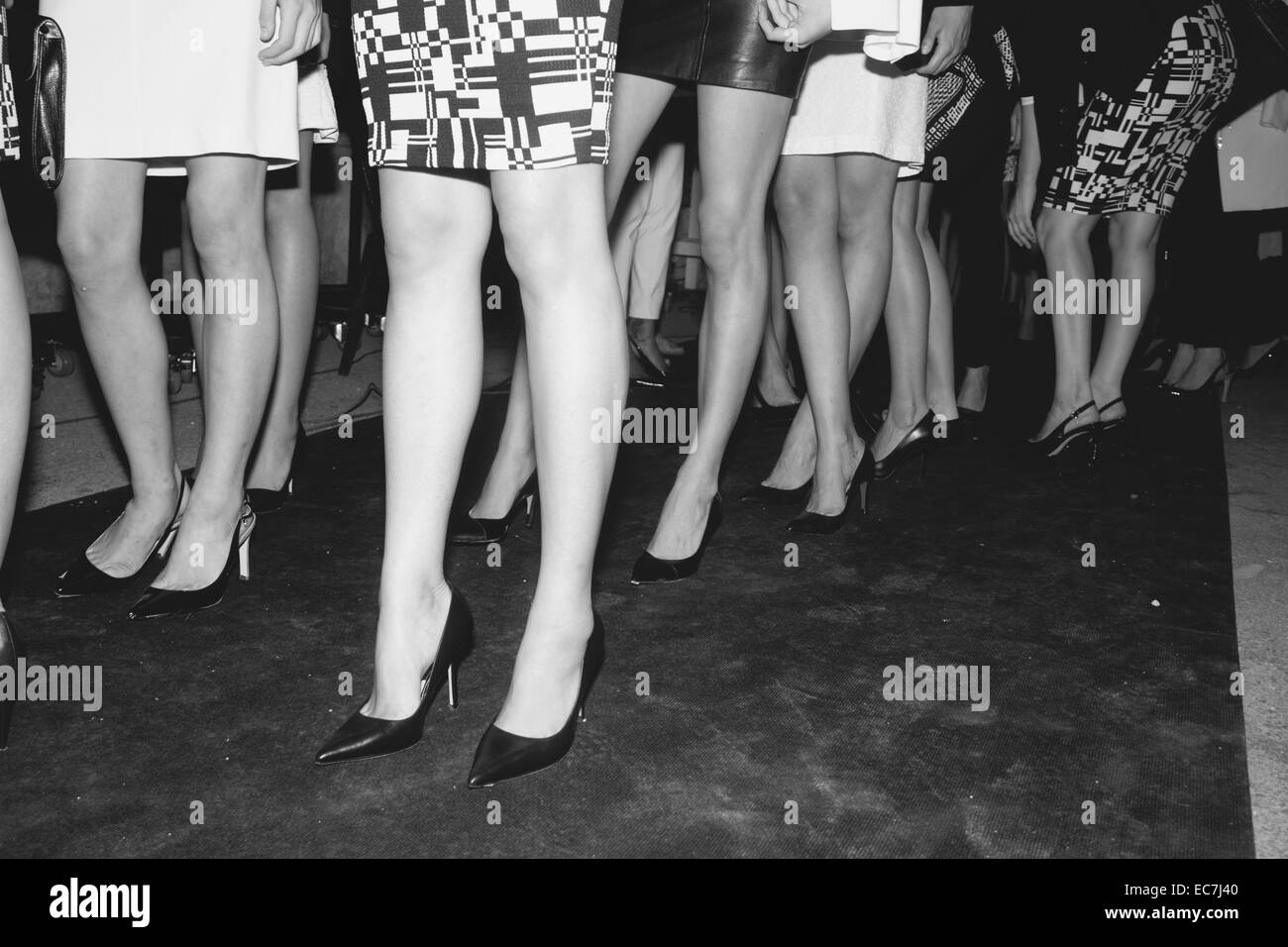Models in a fashion show - backstage - Stock Image