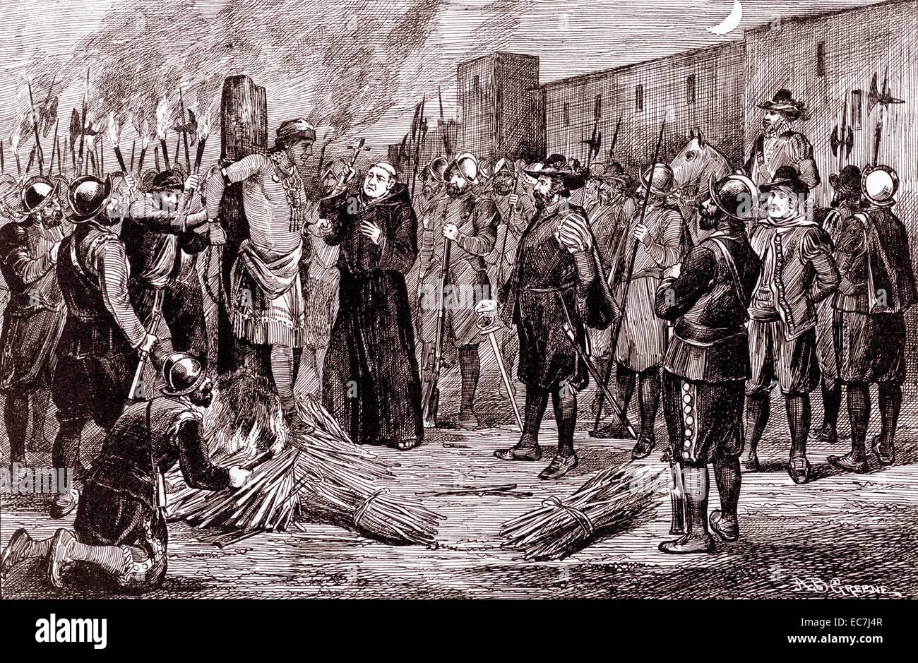The execution of Inca by A.B. Greene. The Spaniards burnt Atahualpa at the stake with a monk presiding holding crucifix - Stock Image