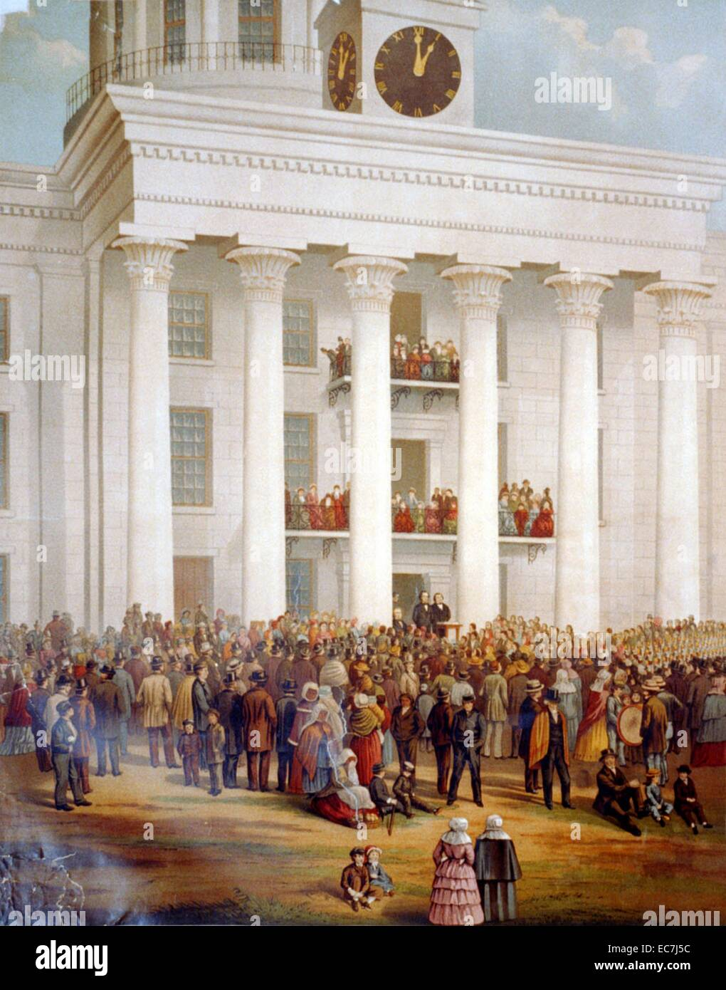 The starting point of the great war between the states. A crowd gathers in front of the capitol building at the - Stock Image