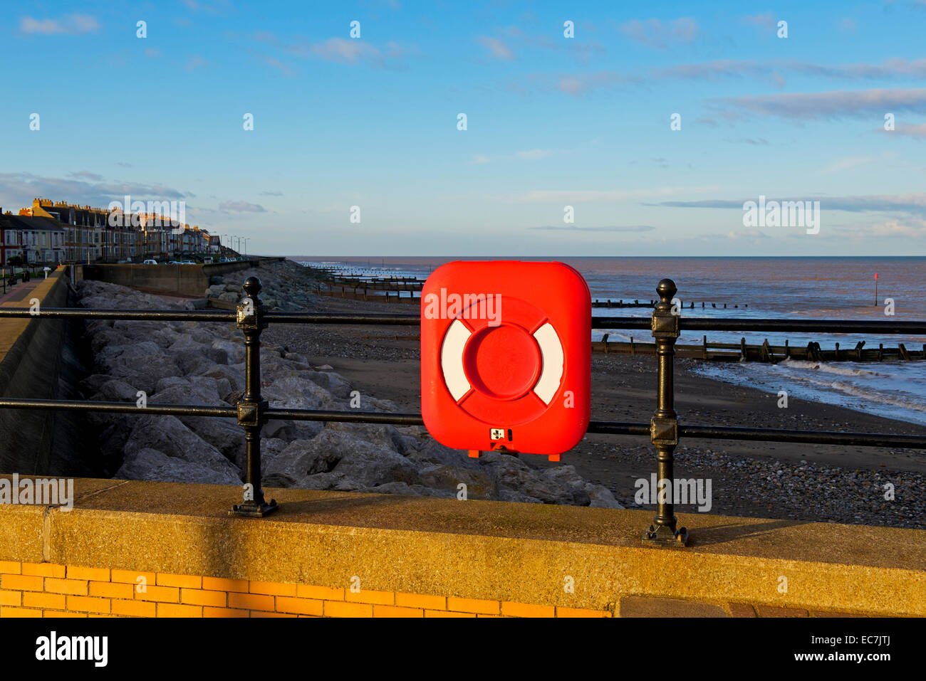 Lifebelt at Withernsea, East Yorkshire, England UK - Stock Image