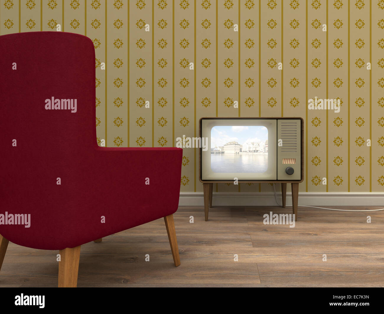 Old television and red armchair in a retro styled living room - Stock Image