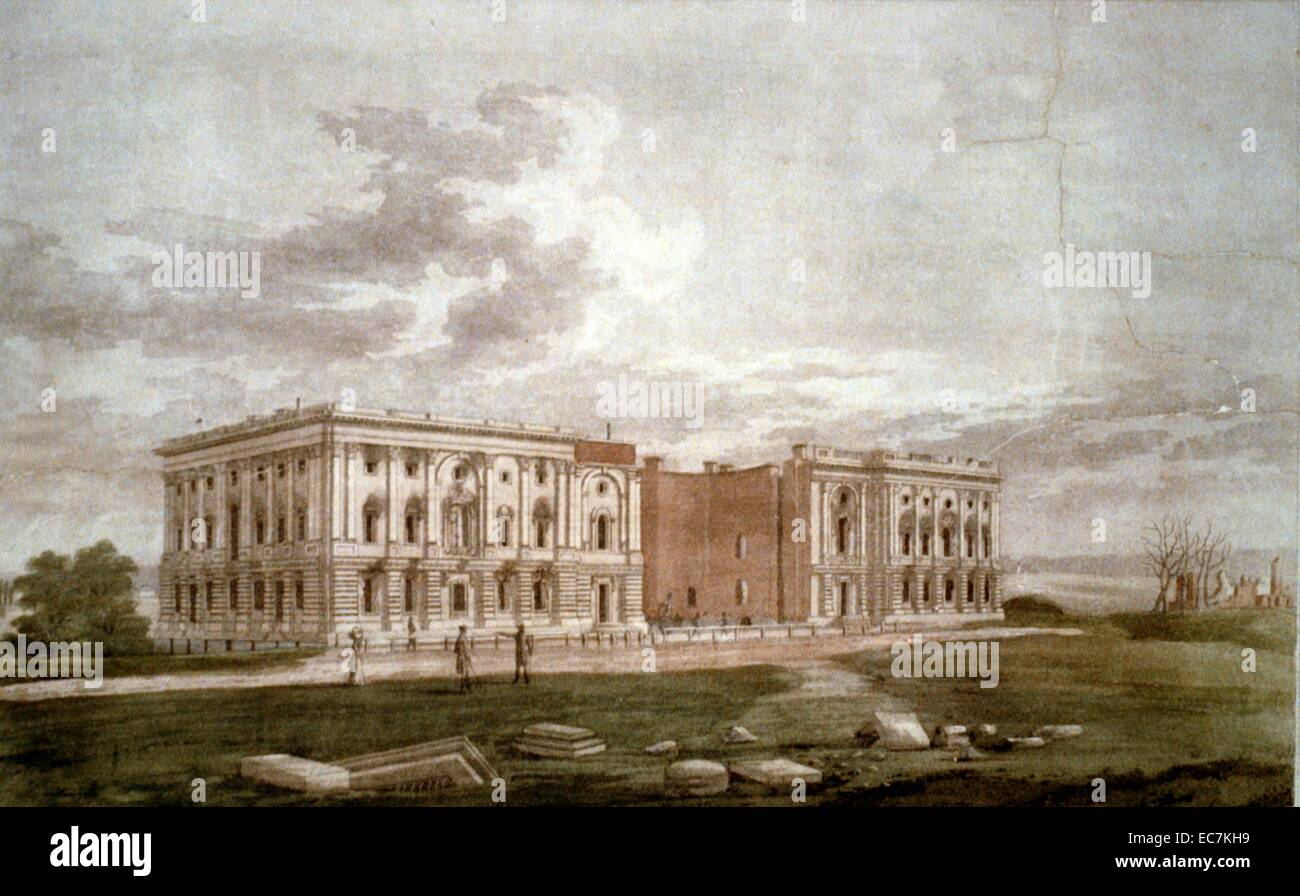 A view of the Capitol after the conflagration of the 24th August 1814. A view from the southeast of the fire-damaged - Stock Image