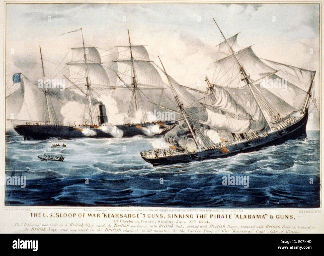 The U.S. sloop of war 'Kearsarge' 7 guns, sinking the pirate 'Alabama' 8 guns off Cherbourg, France - Stock Image