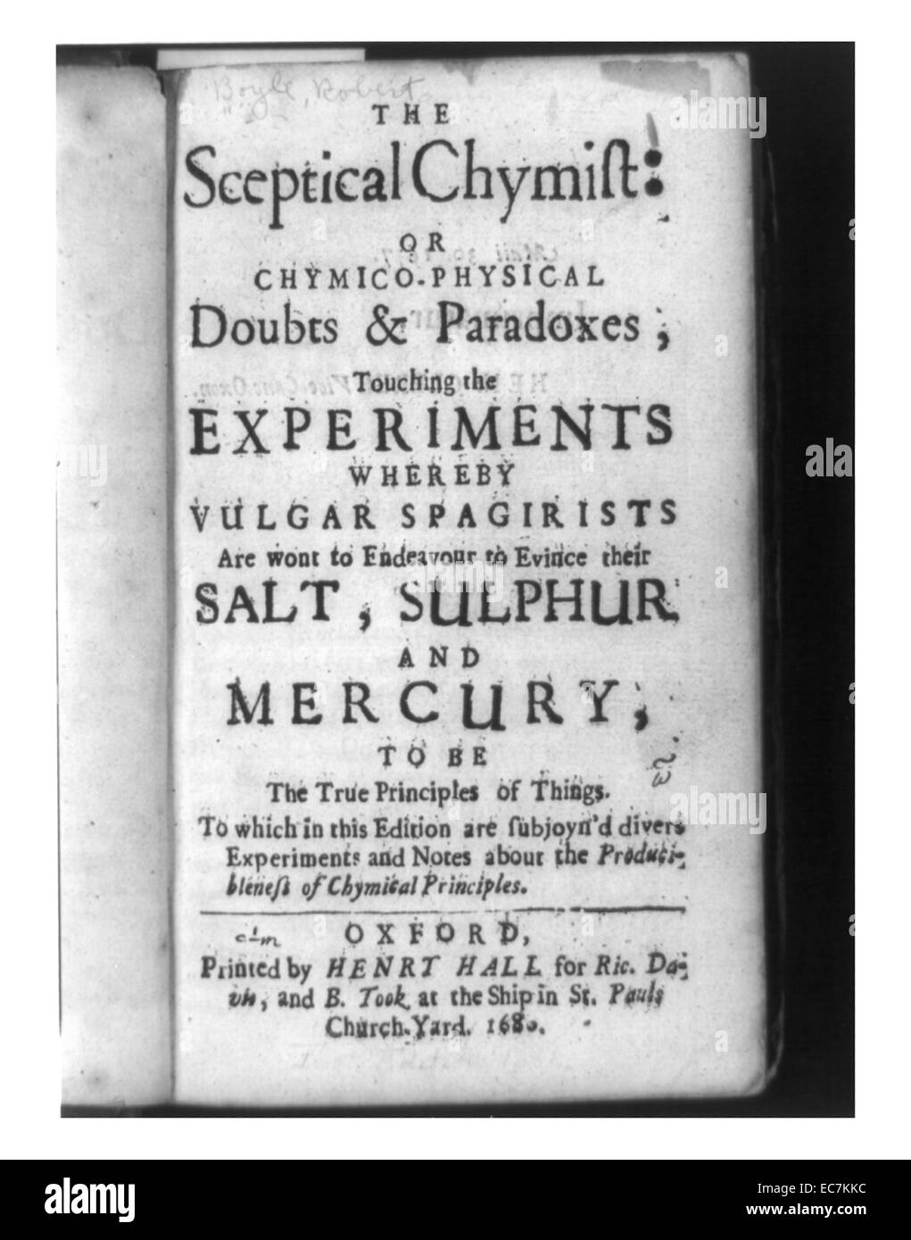 title page of the sceptical chymist 1680 robert boyles book that presented his hypothesis that matter consisted of atoms and