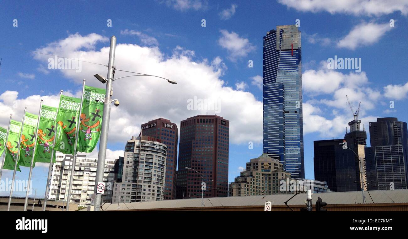 Melbourne, South Bank, skyline, Eureka Tower - Stock Image