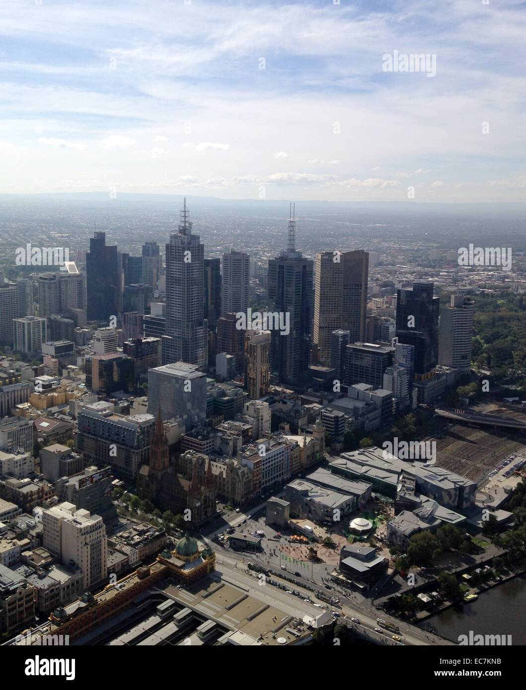 Melbourne, South Bank city view from the Eureka Tower - Stock Image