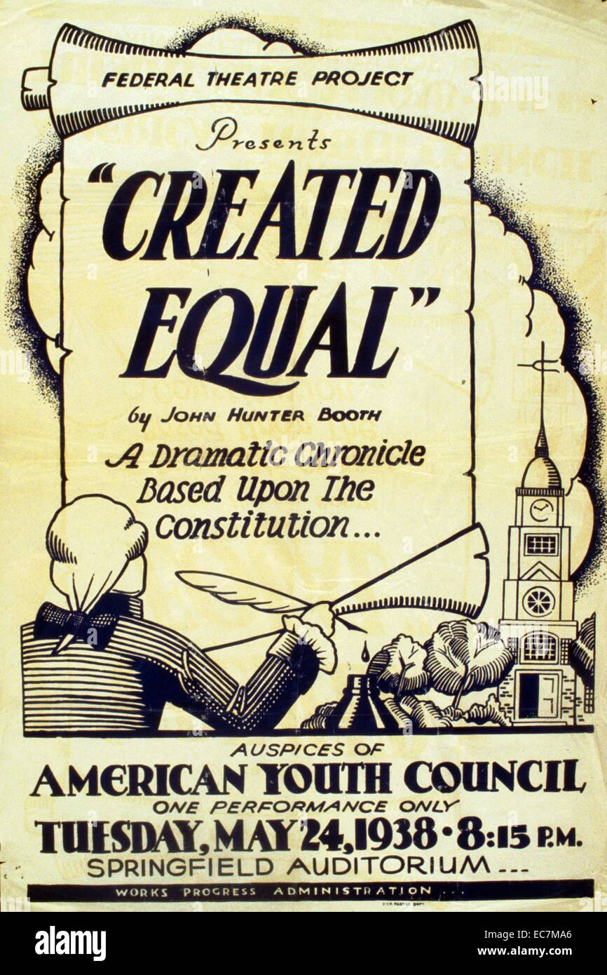 Poster for Federal Theatre Project presentation of 'Created Equal' at the Springfield Auditorium. Written - Stock Image