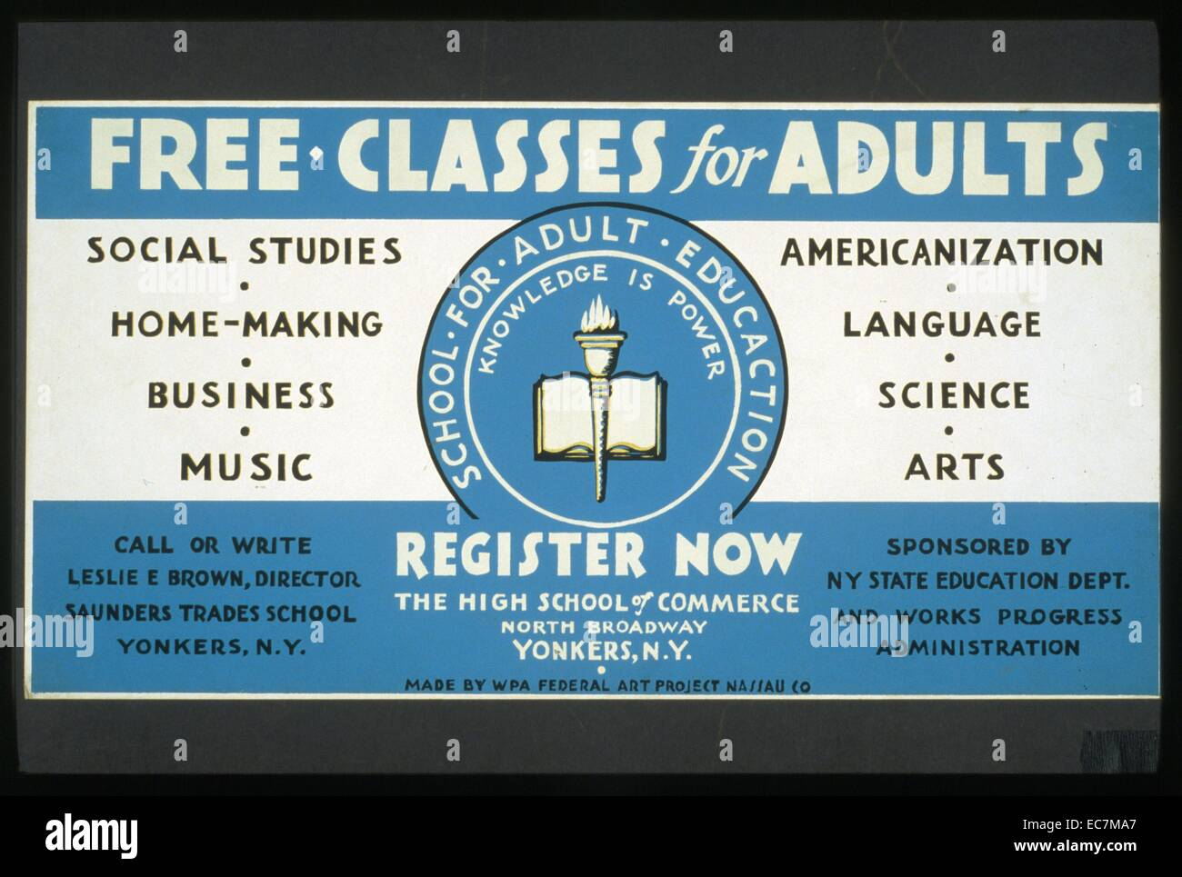 Poster announcing free adult education classes in areas of study such as 'social studies, home-making, business, - Stock Image