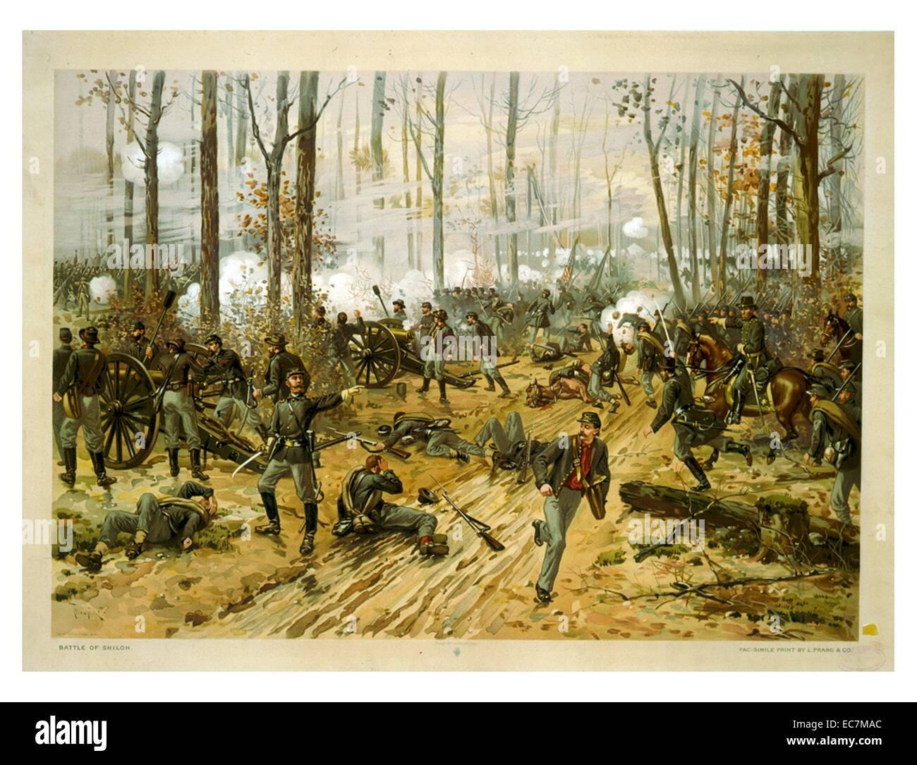 Battle of Shiloh by Thure de Thulstrup. The Battle of Shiloh, also known as the Battle of Pittsburgh Landing, was - Stock Image